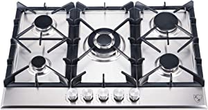 "K&H 5 Burner 30"" Built-in LPG Gas Stainless Steel Cast Iron Cooktop 5-30-SSW-LPG"