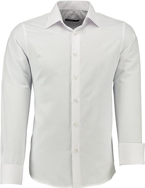 crom Camisa para hombre, corte ajustado, fácil de planchar ...