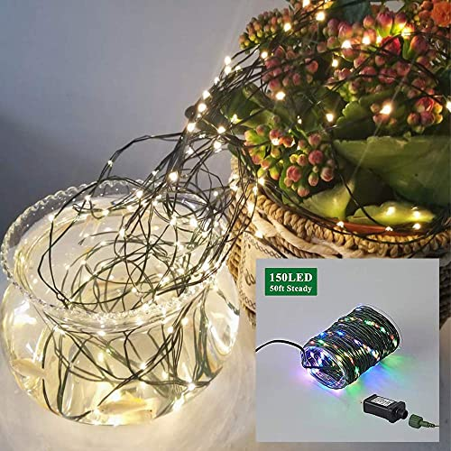 Nurluce Color Changing Fairy Lights Plug in 50ft 150 LED String Lights Outdoor PVC Covered Waterproof