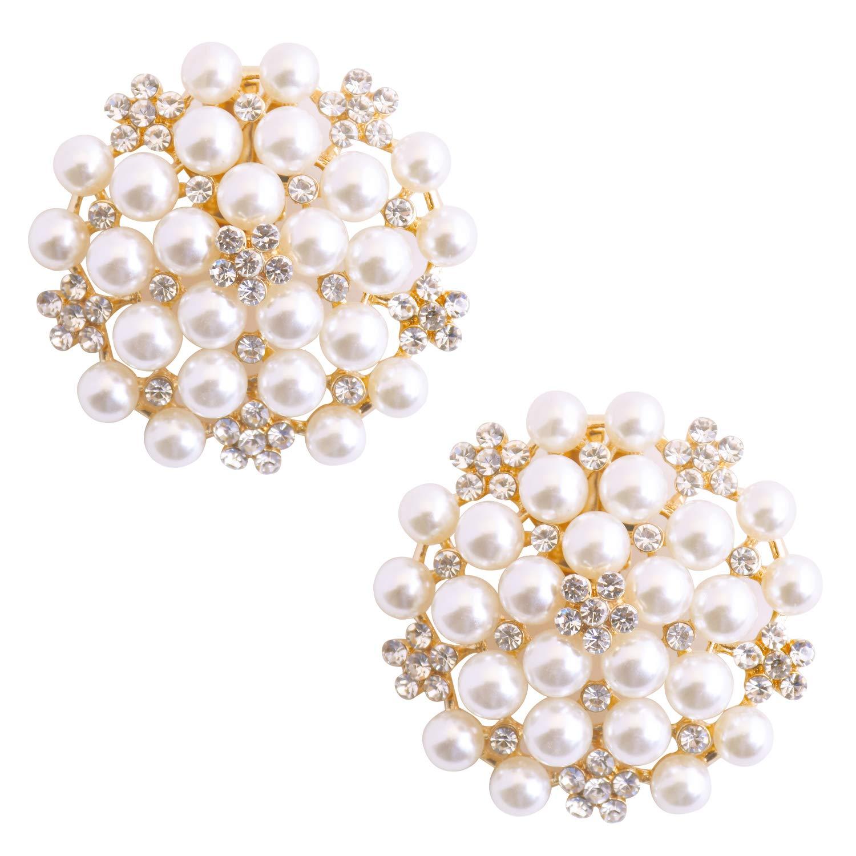ElegantPark CW Crystal Decoration Wedding Party Accessories Gift Shoe Clips 2 Pcs Gold