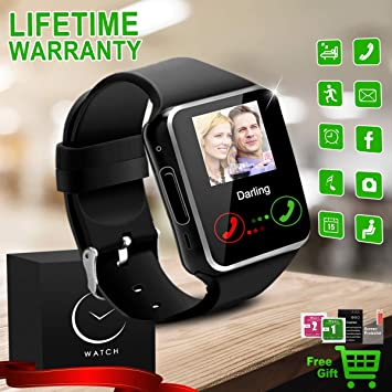 Reloj Inteligente Bluetooth Smartwatch Relojes Deportivos con Camara Smart Watch Whatsapp Pantalla Táctil Teléfonos Inteligentes Compatible iPhone ...