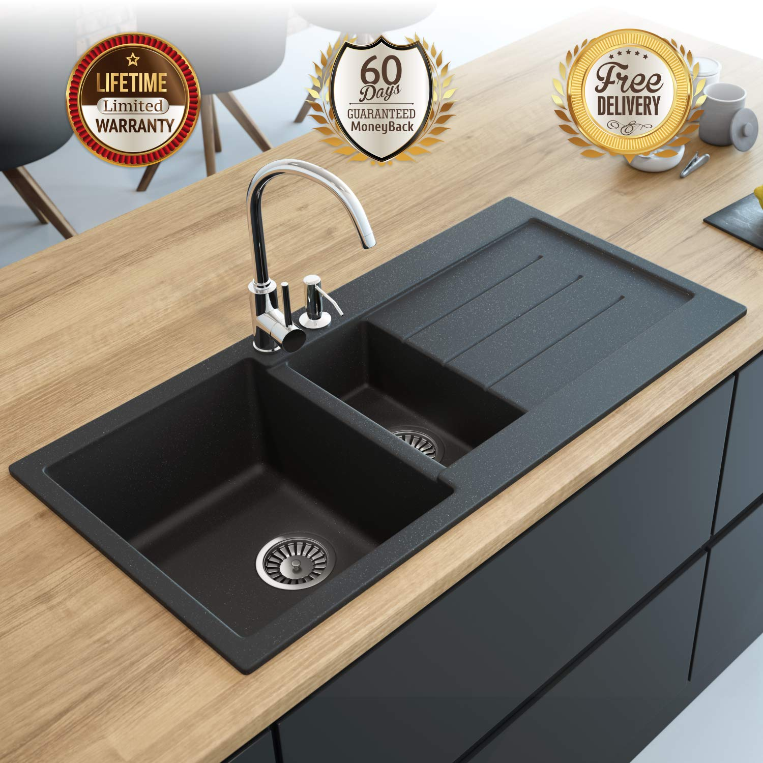 Black Kitchen Sink Lavello Decoro 150LT 39 Granite Sink Composite Double Bowl Big Range of Kitchen Sinks Drop In Top Mount Drainboard Position Right