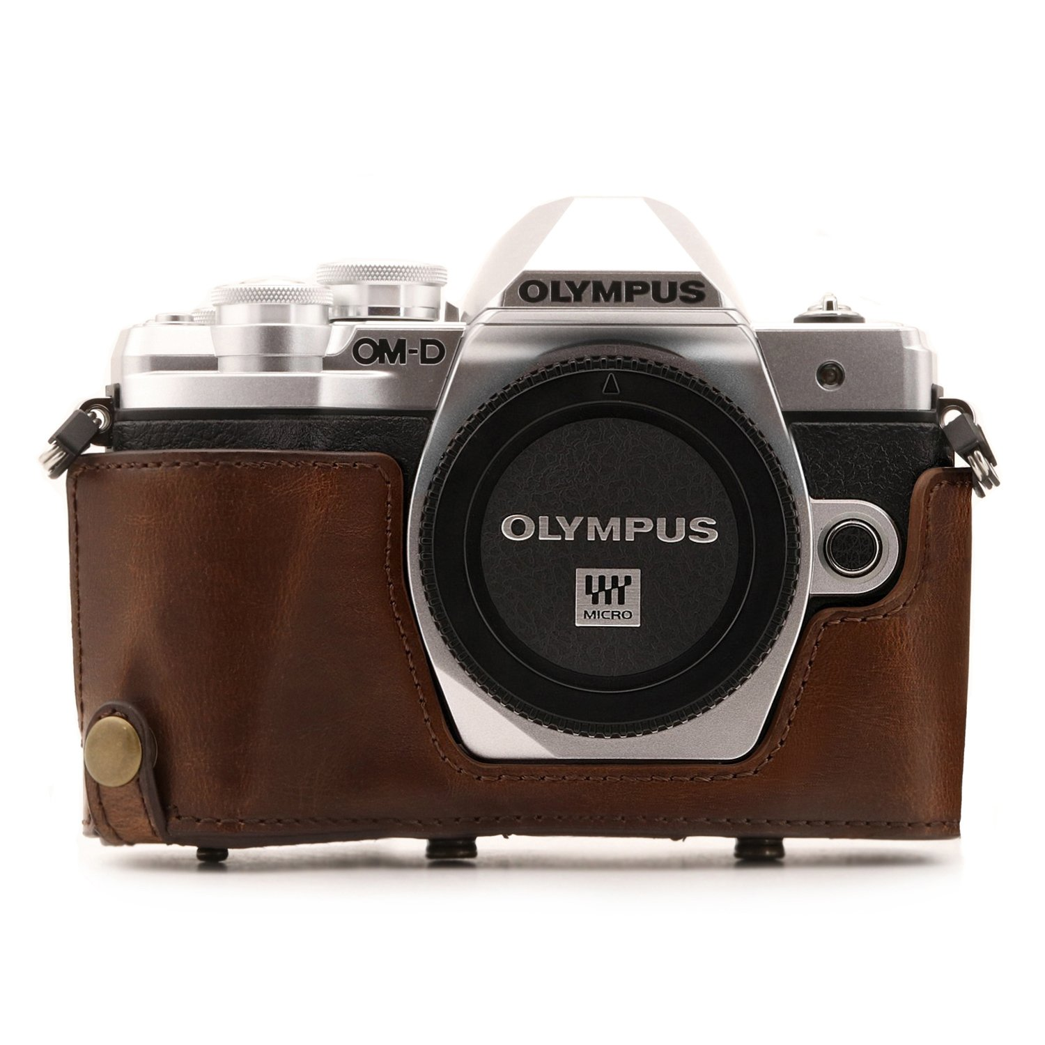 with Battery Access Ever Ready Leather Camera Case and Strap 14-42mm MegaGear Olympus OM-D E-M10 Mark III MG1346 Dark Brown