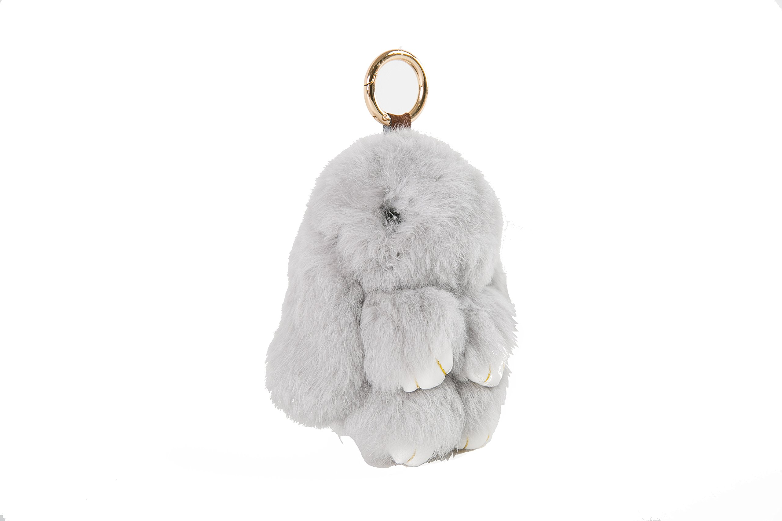 YISEVEN Stuffed Bunny Keychain Toy - Soft and Fuzzy Large Stitch Plush Rabbit Fur Key Chain - Cute Fluffy Bunnies Floppy Furry Animal Doll Gift for Girl Women Purse Bag Car Charm - Light Gray