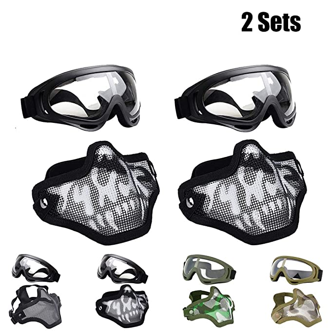 Outgeek Airsoft Half Face Mask Steel Mesh and Goggles Set for Halloween and Xmas(Skull Set) (2 Sets - Ghost, one Size)