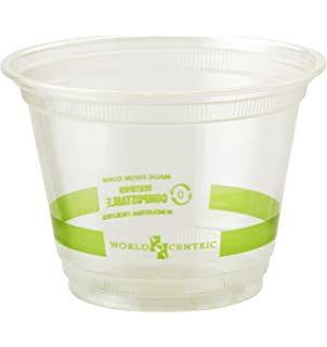 World Centric CP-CS-9Q Compostable Ingeo Squat Cups, 9 oz, Clear