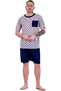 6f4704fdf2 Bay eCom UK Mens Pyjama Sets Jersey Tee Shorts Crew Neck Pocket Lounge  Sleepwear M to