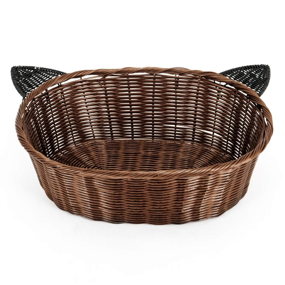 M PLDDY Quality Rattan Wicker Dog Basket,Rattan Kennel Cool Bite Resistance Easy To Clean Pet Bed,Straw,Kennel,Cat Nest (Size   M)