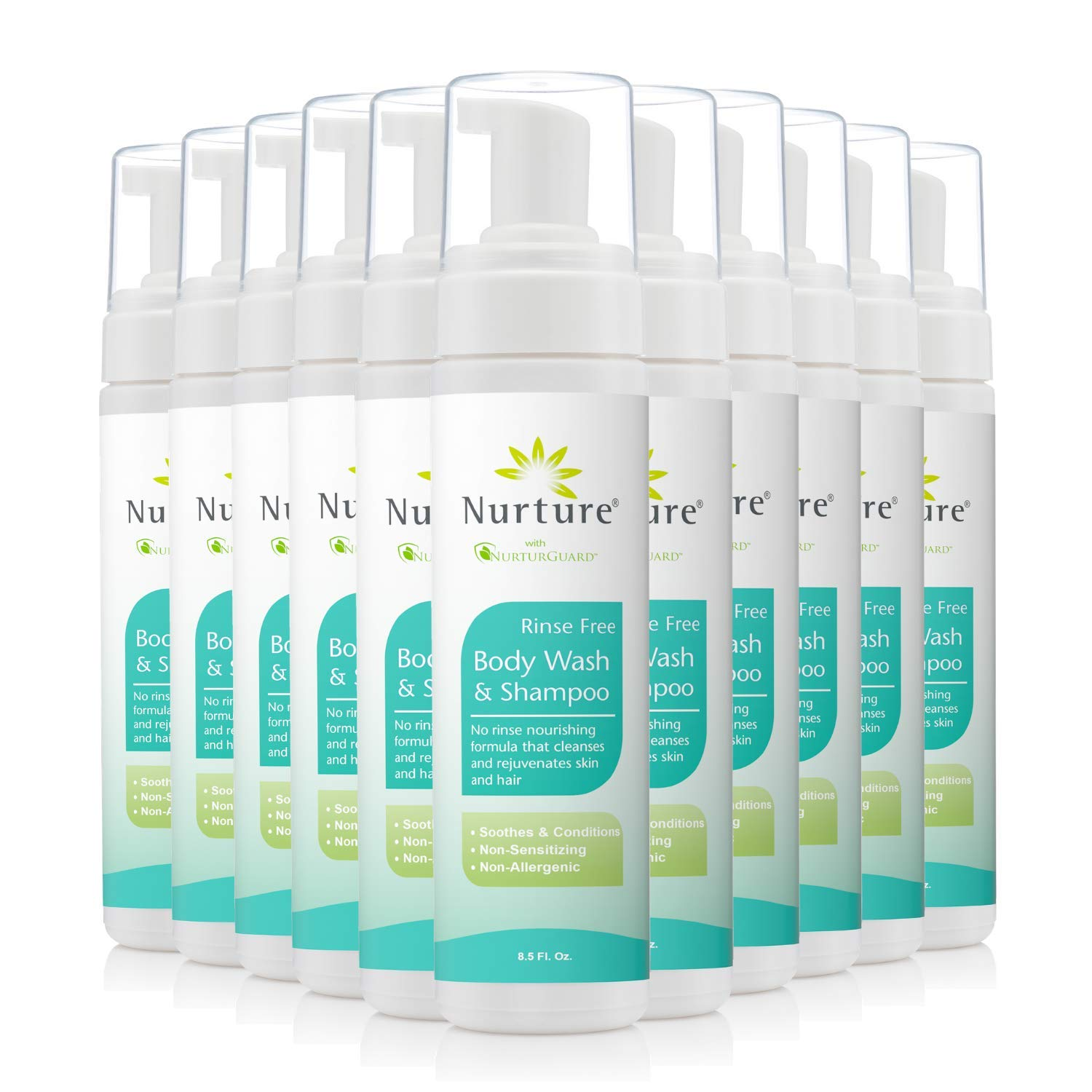 No Rinse Body Wash & Shampoo by Nurture | Hospital Grade Full Hair & Body Cleansing Foam with Aloe Vera - Non Allergenic - Non Sensitizing - Rinse Free Wipe Away Foaming Cleanser - 12 Bottles