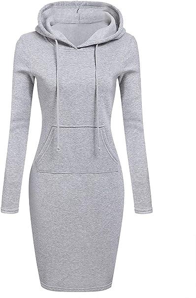 Damen Kapuze Kleider Kapuzenpullover Hooded Sweatshirt Partykleid Longshirt Top