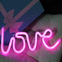 Neon Sign Love Letters Pink LED Neon Light Decorative Night Light for Bedroom Girls Wall decor Light for Wedding Valentine's day Pub Battery Operated and USB Powered (NELOV)