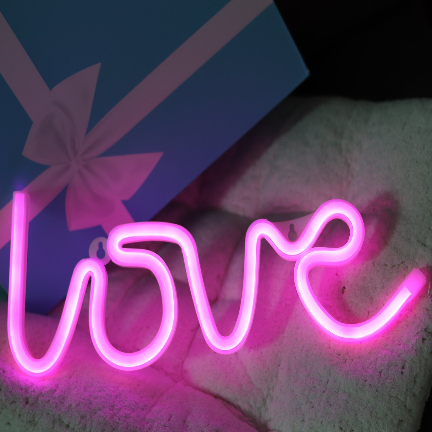 Neon Signs Love Letters Pink LED Decorative Night Light for Bedroom Wall décor Light for Wedding Valentine's day Pub Battery Operated and USB Powered Neon Light(NELOV) by VagaryLight (Image #1)