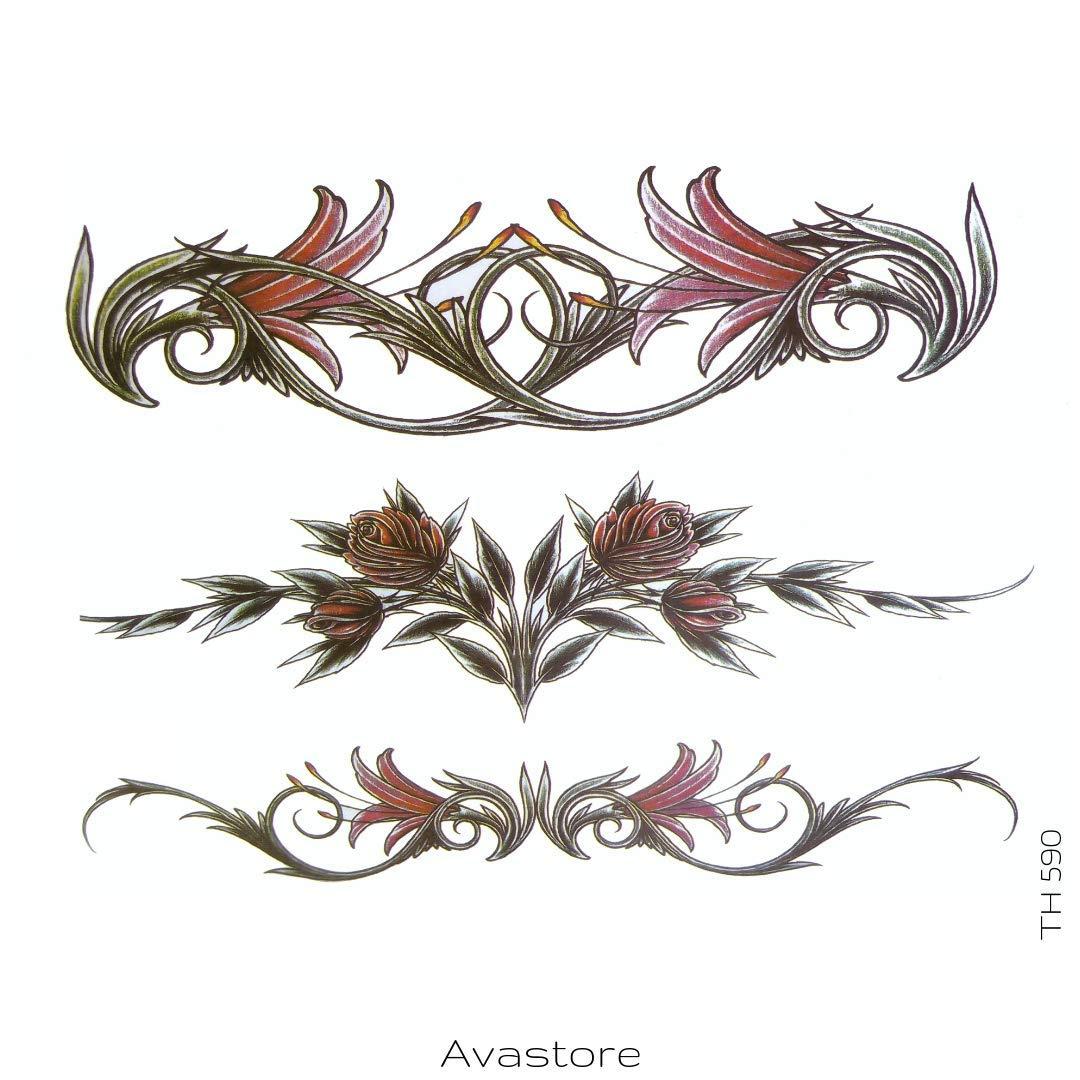 Vastore - Tatuaje temporal tribal con flor de LYS: Amazon.es: Belleza