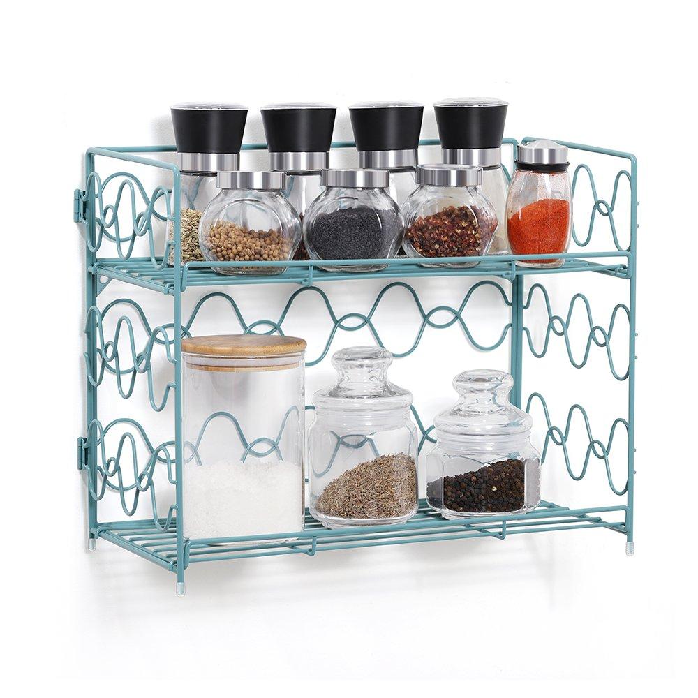 2-Tier Spice Rack Countertop Shelf for Kitchen Spice Jars Storage Organizer Wall-mounted Storage (DB050D) (Blue)