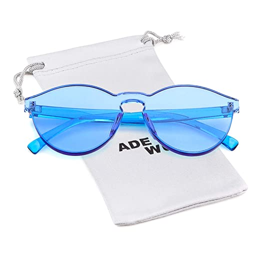 43393136495f Image Unavailable. Image not available for. Color: One Piece Rimless  Transparent Round Sunglasses for Women Tinted Candy Color Eyewear