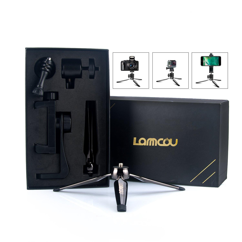 Lammcou Camera Mini Tripod by Portable tripod 3in1 Smartphone Tripod Table Desk Tripod Lightweight Tripod for Canon Nikon Sony DSLR Cam + iPhone + Action Camera Mini Tripod