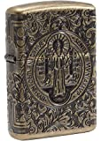 Zippo St. Benedict-Limited Edition 500 Pieces-Antique Silver-Special Collection 2017 Sturmfeuerzeug, Chrom, Silber, 6 x 4 x 2 cm