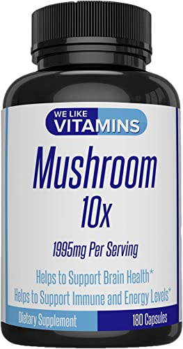 Mushroom Supplement 10x 1995mg Per Serving 180 Capsules – 10 Mushroom Blend Cordyceps, Reishi, Shiitake, Lions Mane, Maitake, Turkey Tail, and Chaga 3 More – Helps Support Brain and Immune System