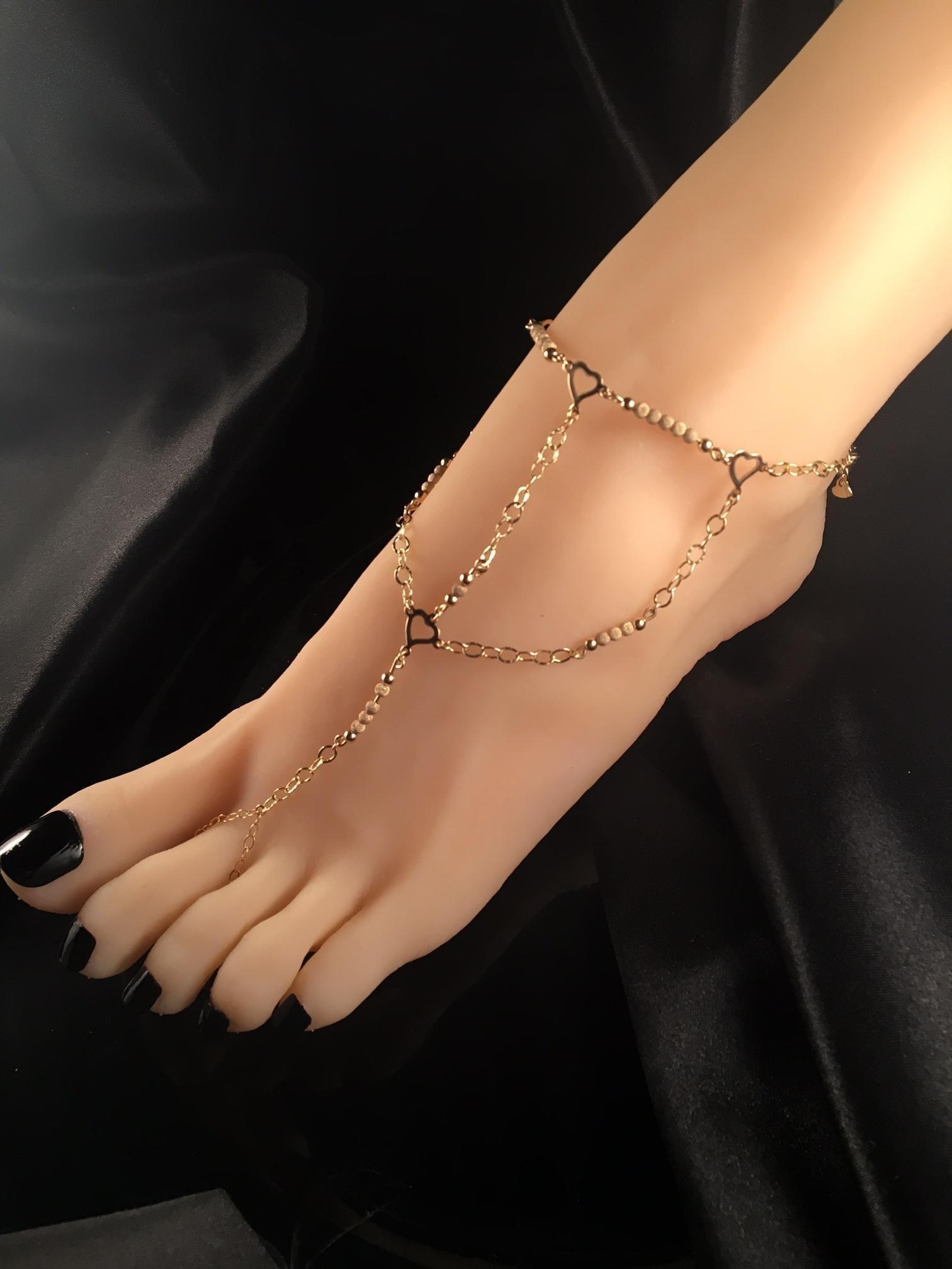 Hand made Beaded Gold Harness slave bracelet Anklet