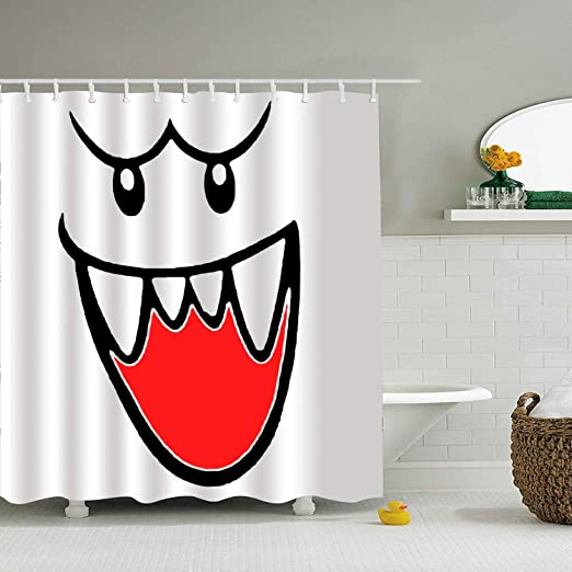 65 x 72 inch Bathroom Shower Curtain Super Mario Bros Ghost Boo Shower Curtains with 12 Hooks Durable Waterproof Fabric Window Curtain