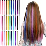 32Pcs Colored Clip in Hair Extensions, BeaHot 20'' Rainbow Long Straight Highlights Hairpieces Clip in Synthetic…