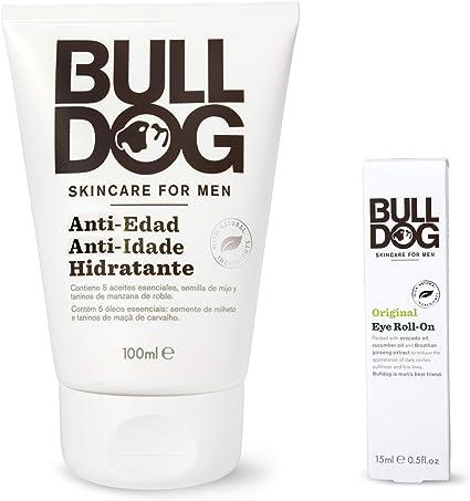 Bulldog Cuidado Facial para Hombres - Pack Duo Cuidado Facial Anti-Edad , Crema Hidratante Anti-Edad 100 ml + Roll On Contorno de Ojos 15 ml: Amazon.es: Belleza