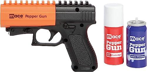 Mace Brand Self Defense Pepper Spray Gun 2.0 Accurate 20 Powerful Pepper Spray, Leaves UV Dye on Skin, Integrated LED Light Enhances Aim, Great Self-Defense Replaceable Cartridge 80406 , Black