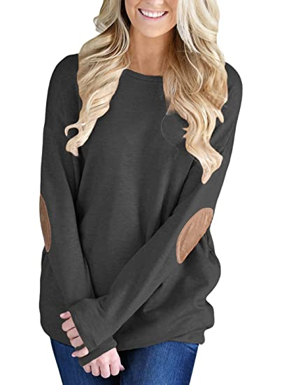 Canikat Women Casual Solid Long Sleeve Elbow Patch Pullover Tunic