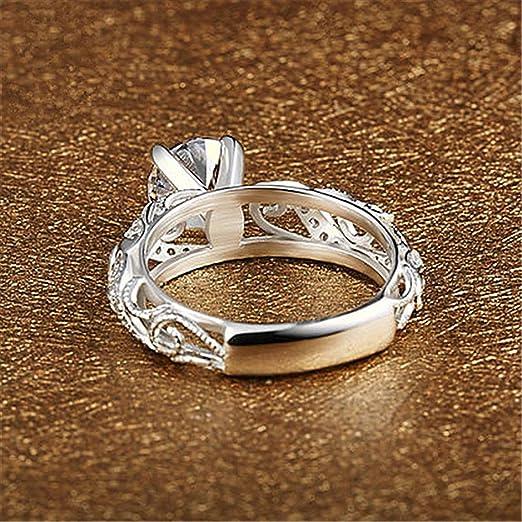 mmlc lujo micro anillo incrustaciones Anillo de Diamante con cuatro Claw corte elegante anillo de diamante regalo para Lady Girl, plata, 0.5T: Amazon.es: ...