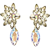 Longue Boucles d'oreille clips Clip On Clips Boucles d'oreilles Plume Design Cristal Miel Or Marron Vitraille et Aurora Borealis 7,7 cm de long