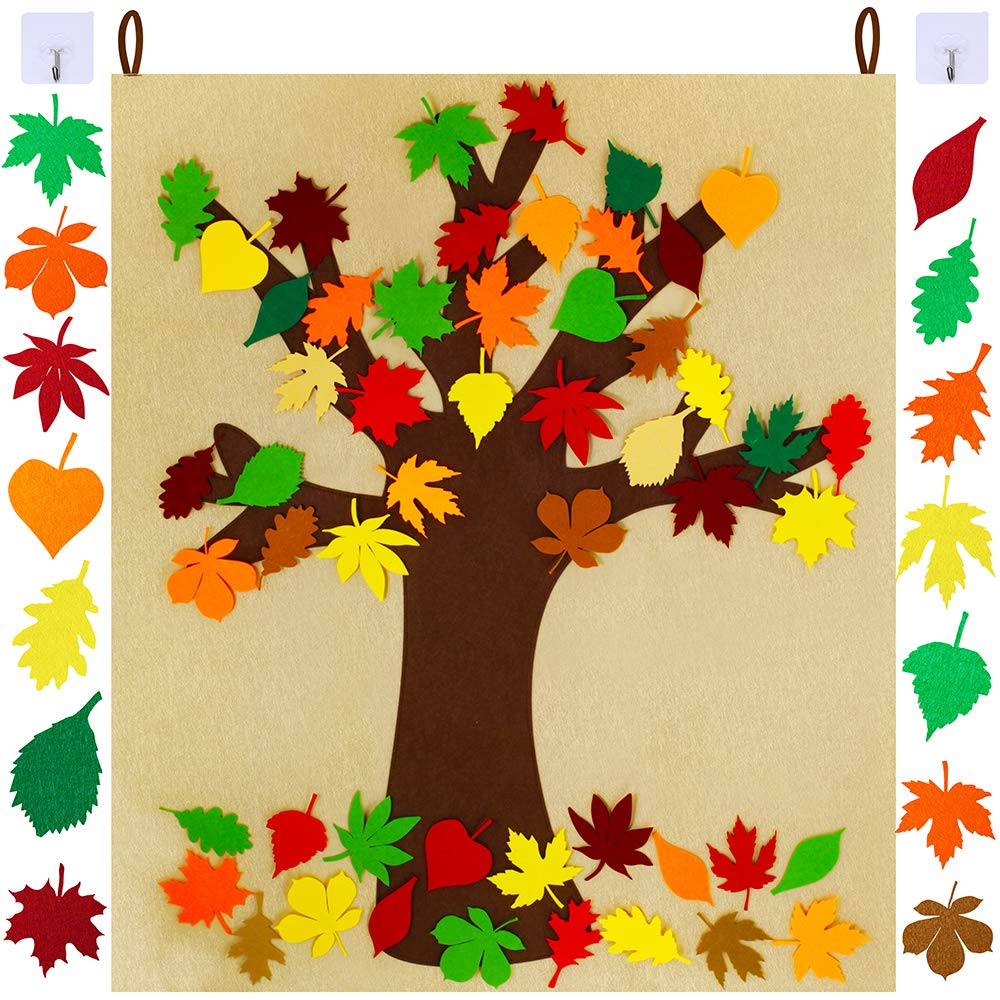 SUPLA Fall Tree of Thanks Craft Kit Felt Fall Tree Board with 52 pcs Detachable Autumn Leaf Ornaments Autumn Bulletin Board for Kids Classroom Craft Thanksgiving Activity by windiy