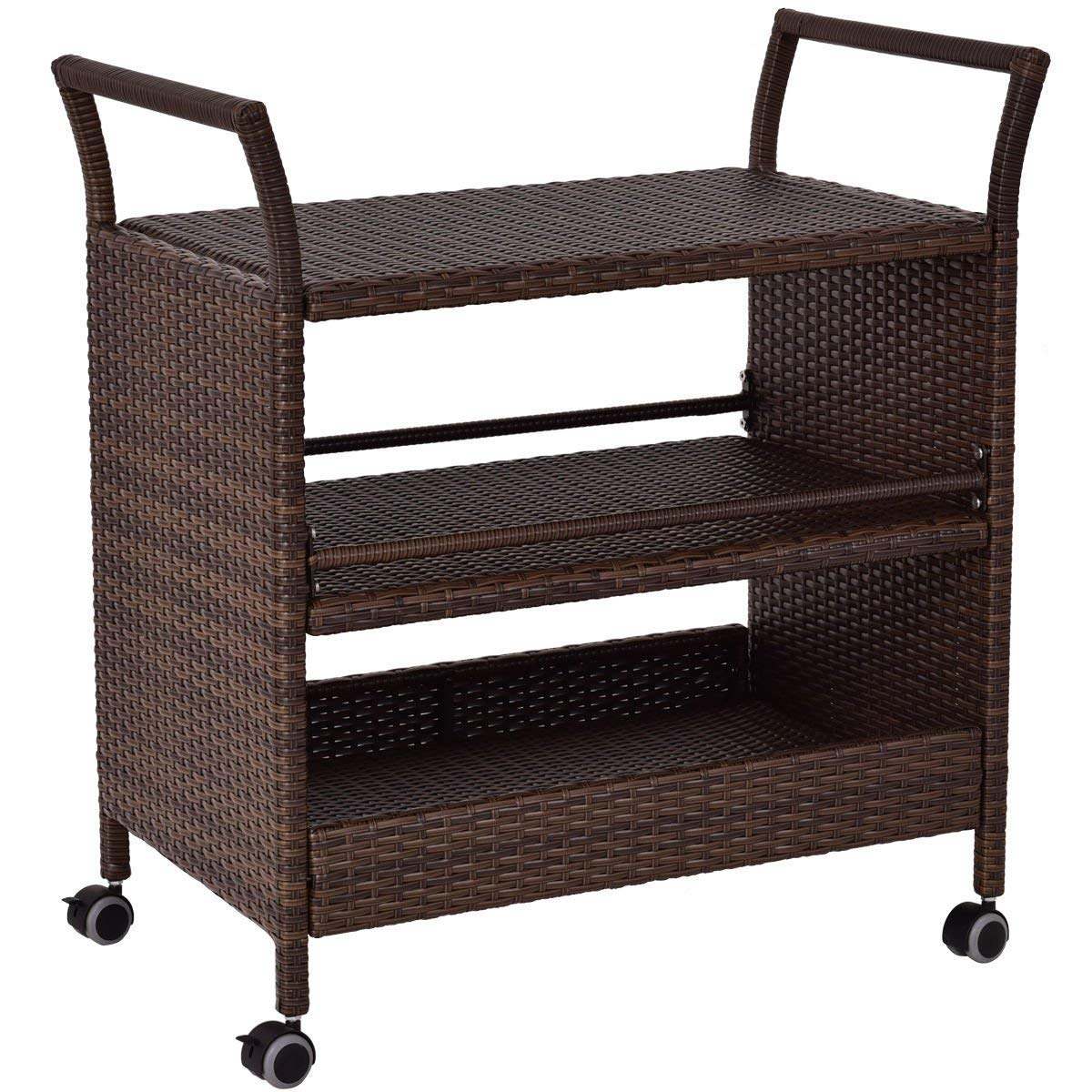 TANGKULA Patio Wicker Serving Cart Portable Rolling Wicker Bar Cart Kitchen Trolley Dining Storage Cart Storage Shelves Rack Indoor/Outdoor Furniture, Brown