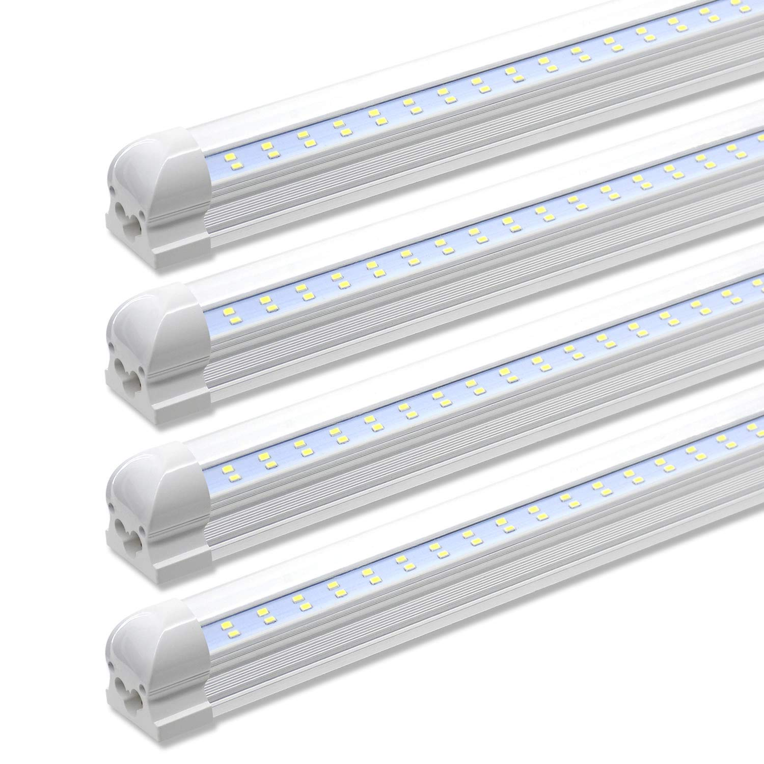 8ft led shop lights fixture 72w 7200lm 6000k cool white flat dual row t8 integrated led tube strip lights high output bulb for garage warehouse