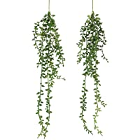 Artificial Hanging Succulent Plants – 2 Pack Faux String of Pearls Plants Unpotted Faux Hanging Plants Décor (Small)