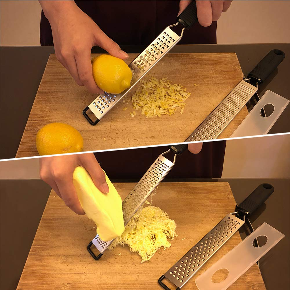 LEMCASE LEM-K-LZ Lemon Zester and Cheese Grater - Citrus, Parmesan, Chocolate, Nutmeg, Garlic, Ginger - Silicone Handle and Stainless Steel Blades with Protect, 33_cm by LEMCASE (Image #5)