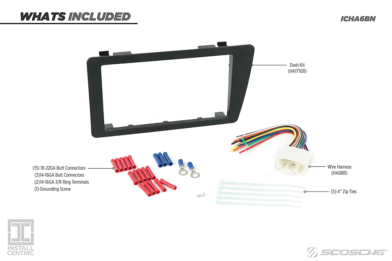 Scosche Ha1710b 2001 05 Honda Civic Double Din Rib Harness Clip Wiring Install Dash Kit Car Electronics