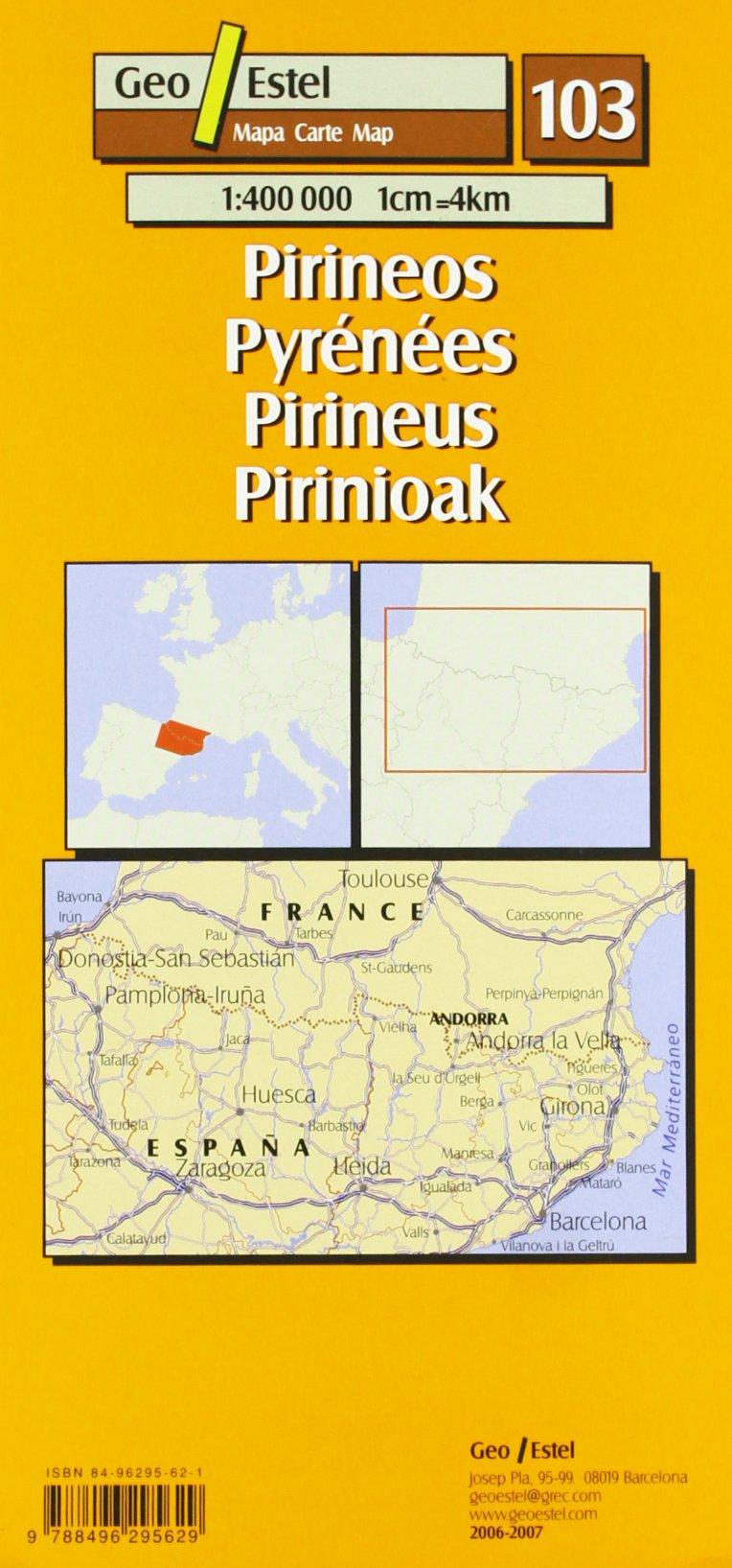 Pirineos / Pyrénéés / Pirineus / Pirinioak: Escala: 1 400 000 Mapas turísticos: Amazon.es: Mapa: Libros