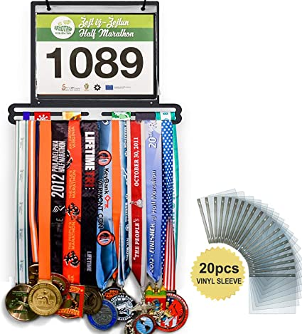 Complete Bundle Medal Holder Bib Hanger for 60+ Medals 120 Runner Race Bibs Multipurpose Scarf Urban Active Sports Medal Display Locking Laces Includes 23 Bibs Vinyl Sleeves
