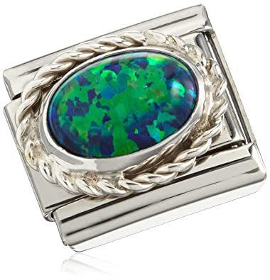 Nomination Composable Women's Bead Classic Faceted Czech Steel Silver 925 + Emerald Green Stone mi6SEy