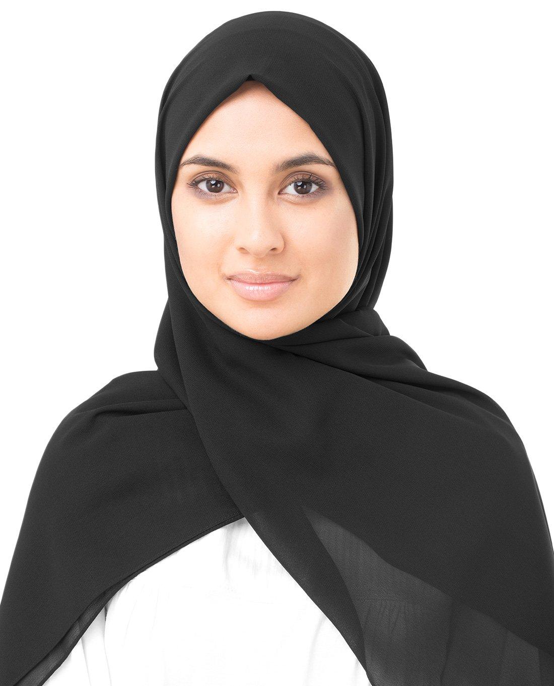 InEssence Jet Black Poly Georgette Scarf Women Girls Wrap Medium Size Hijab