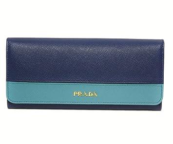 b50197915873 (PRADA) プラダ 財布 二つ折り長財布 バイカラー 型押しレザー SAFFIANO STRIPE