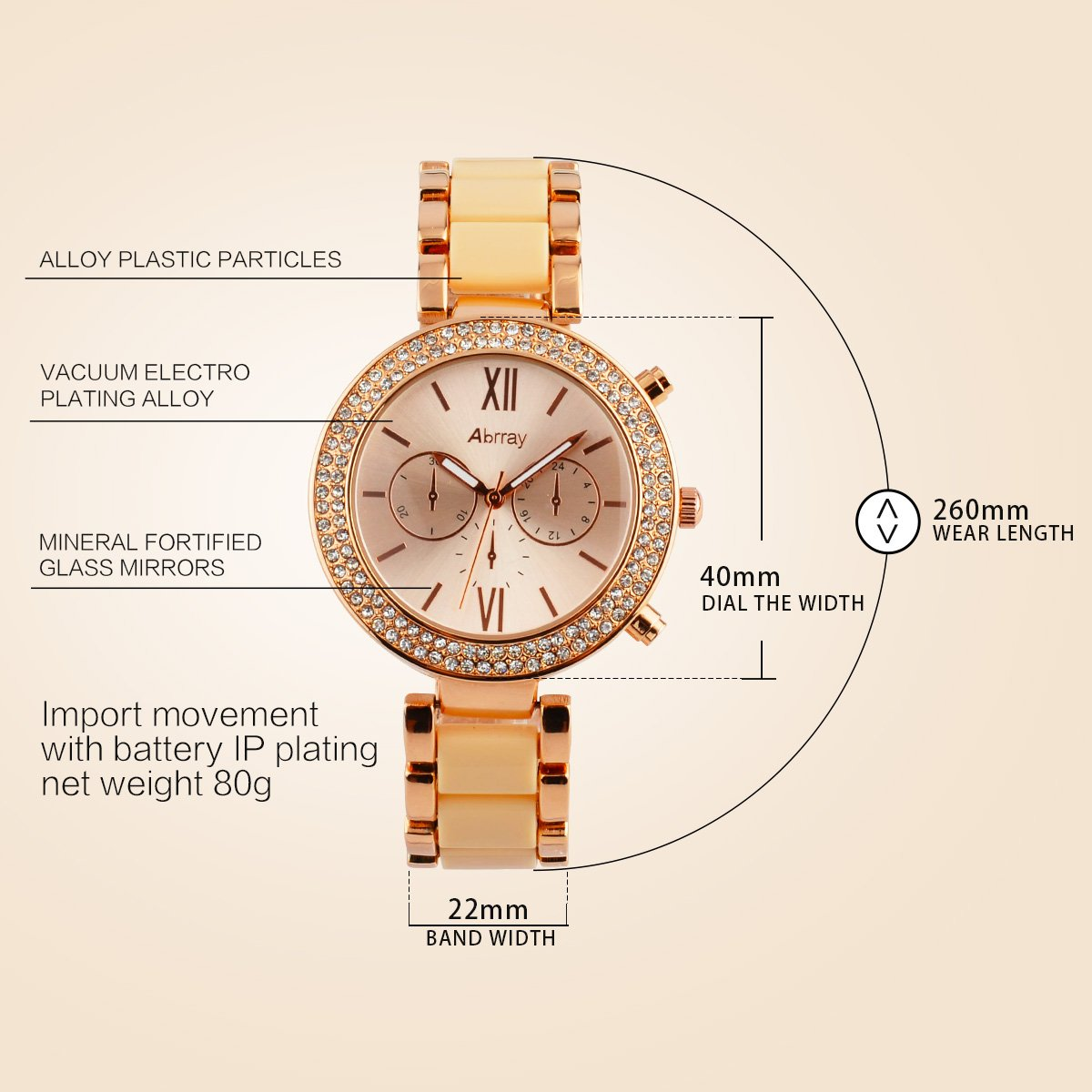 Abrray Rose Gold Watch Women Quartz Waterproof Watch Luxury Alloy Bracelet Business and Casual Watch