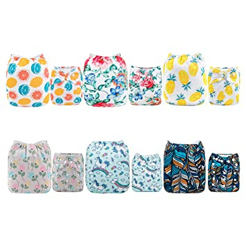 ALVABABY Pocket Cloth Diapers Reusable Washable Adjustable for Baby Boys and Girls,6 Pack with 12 Inserts 6DM27