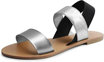 Sandalup Elastic Insert Slingback Flat Women's Sandals