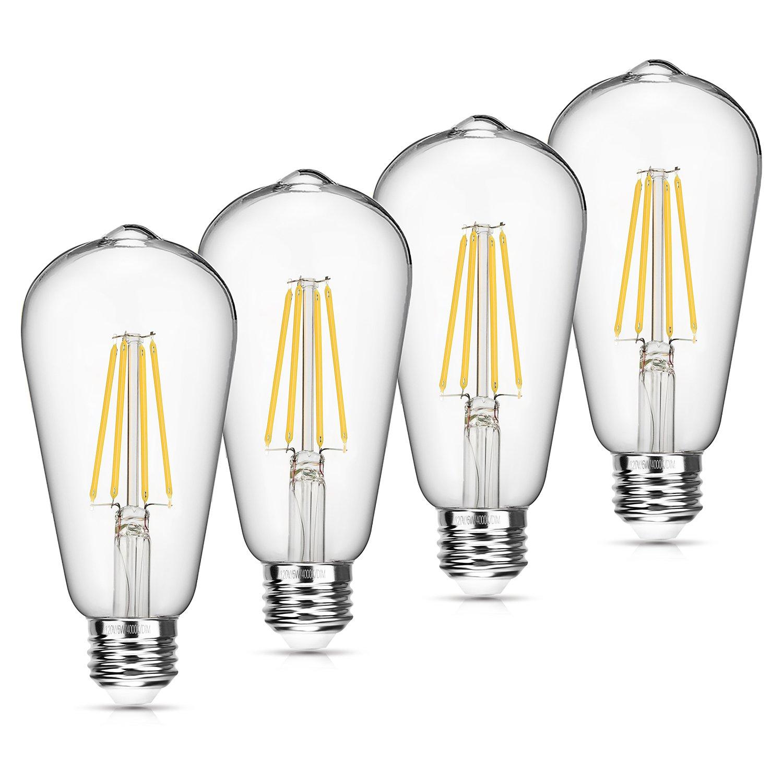 Vintage LED Edison Bulb Dimmable 6W 4000K Neutral White 660 Lumen Led Filament Light Bulb 60W Incandescent Equivalent ST64 E26 Medium Base Decorative Antique Bulb for Bathroom Kitchen Garage, 4 Pack