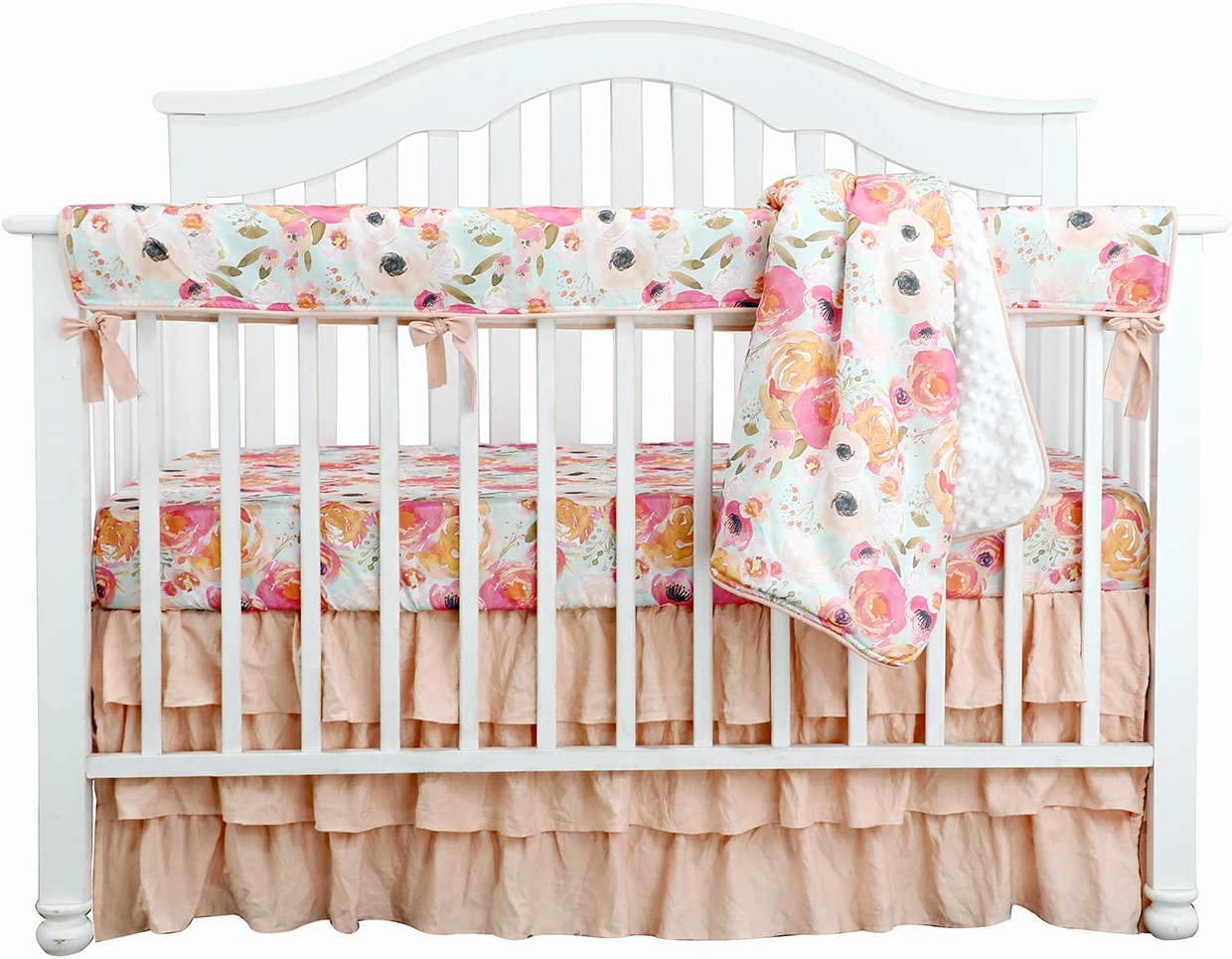 Amazon Com Boho Coral Floral Ruffle Skirt Baby Minky Blanket Peach Floral Nursery Crib Skirt Set Baby Girl Crib Bedding Feather Blanket Poppy Watercolor Floral 4pc Set Home Kitchen