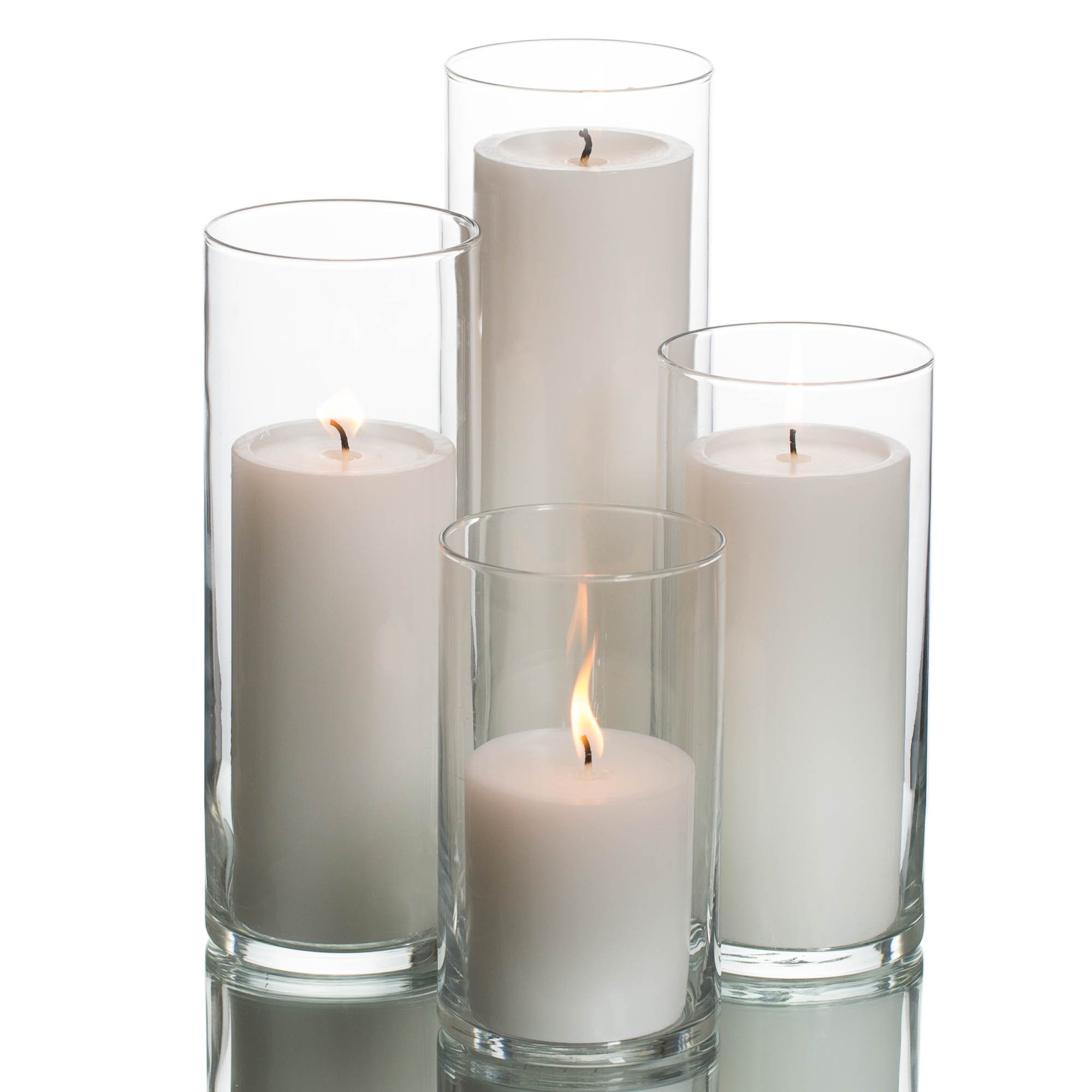 Eastland Cylinder Pillar Holder & Richland Pillar Candles White Set of 48 by Richland