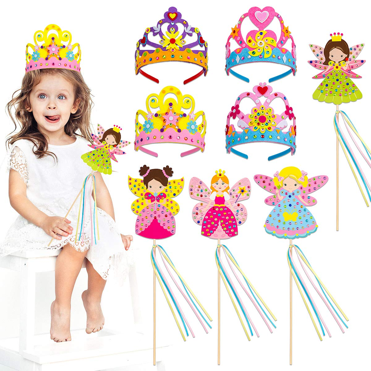 Make Your Own Princess Crown and Fairy Magic Wands Girls Party Favors PARBEE 8 Set Princess Tiara and Wand DIY Crafts