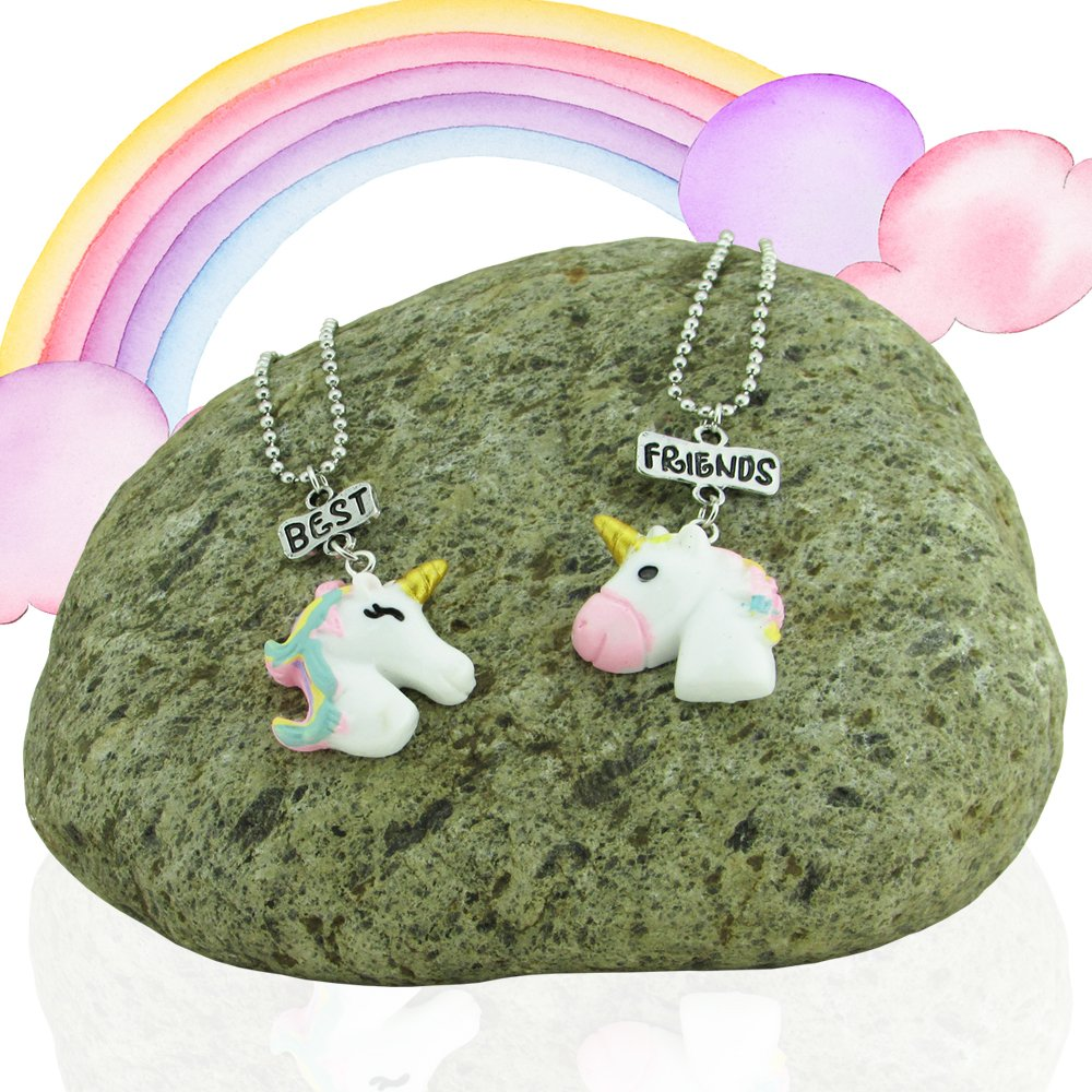 Unicorn Gifts For Girls - Unicorns That Little Girls Will LOVE! - You Get 2 Best Friend Necklaces + Unicorn Squishy + Cool Unicorn Buttons & Zippered Unicorn Cases! - PLUS Gift Packaging Is INCLUDED! by Fine Line Living (Image #2)