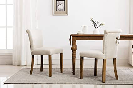 Retro Upholstered Dining Room Chairs, Beige Rustic Tufted Linen Fabric  Armless Dinning Chair With Curved